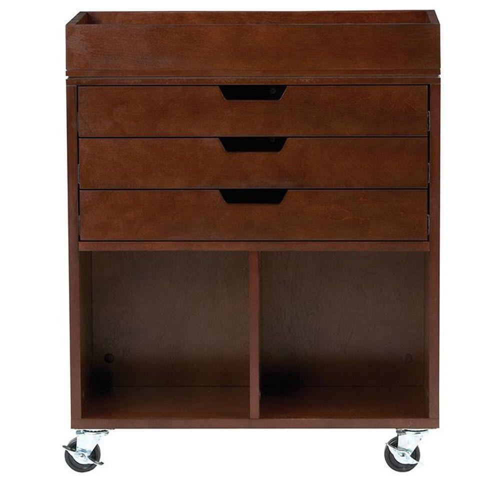 Home Decorators Collection Avery 25 in. W 3-Drawer MDF Wrapping Mobile Cart in Chestnut