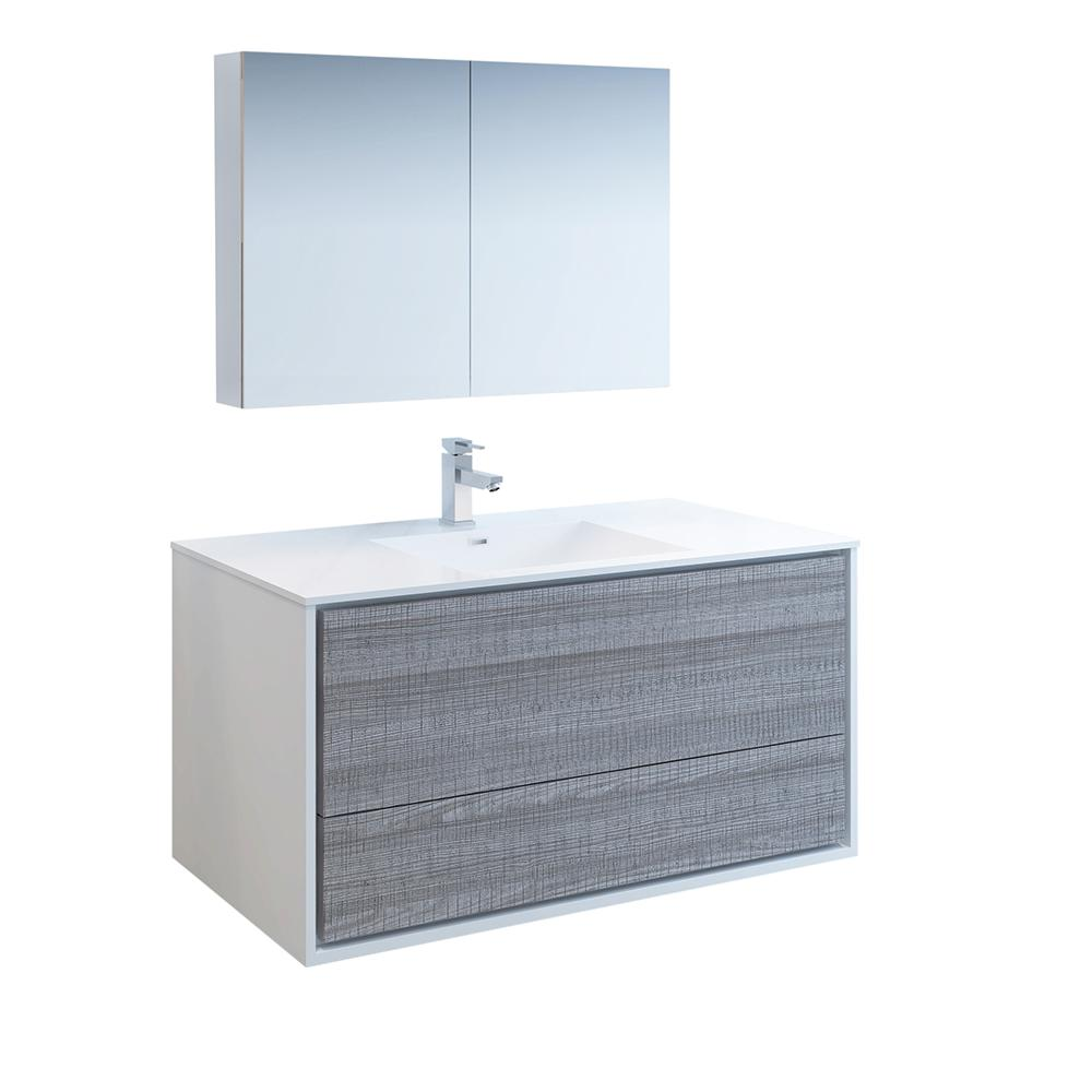 Fresca Catania 48 in. Modern Wall Hung Vanity in Ash Gray with Vanity Top in Glossy White with White Basin and Medicine Cabinet