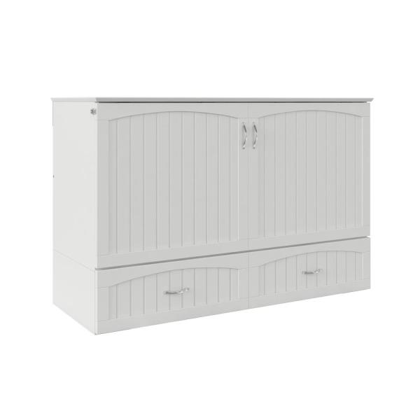 Murphy Bed.Southampton Murphy Bed Chest Queen White With Charging Station
