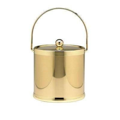 Americano 3 Qt. Polished Brass Ice Bucket and Lid, Metal Bale Handle