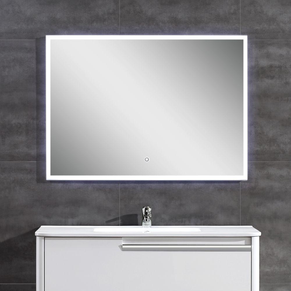 39 in. W x 28 in. H Frameless Rectangular LED Light Bathroom Vanity Mirror in Glass