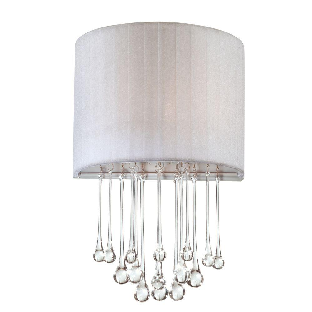 Penchant Collection 1-Light Chrome and White Wall Sconce