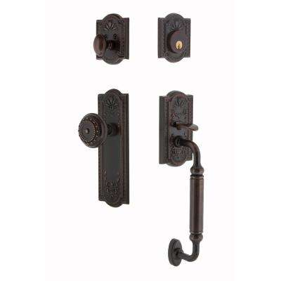 Meadows Plate 2-3/8 in. Backset Timeless Bronze C Grip Entry Set Meadows Knob