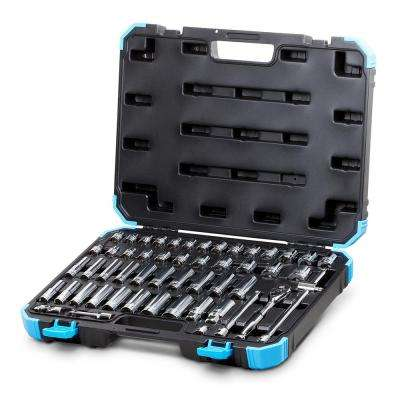 3/8 in. Drive SAE/Metric Master Socket Set with Ratchets, Adapters and Extensions (52-Piece)