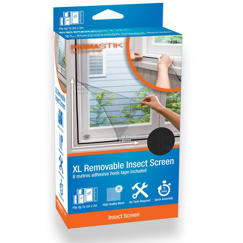 PermaStik XL Removable Insect Screen, 78 7 in x 78 7 in, Or cut down to  suit smaller size, Adhesive Mounting