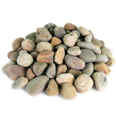 0.50 cu. ft. 3 in. to 5 in. Buff Mexican Beach Pebble Smooth Round Rock for Gardens, Landscapes and Ponds