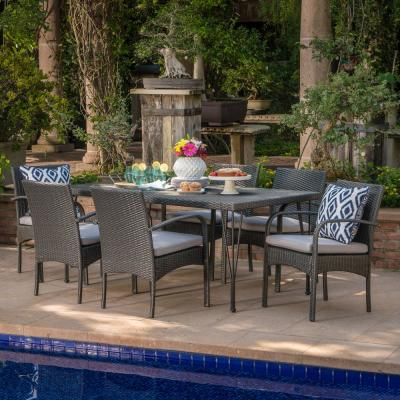 Joyce Grey 7-Piece Wicker Outdoor Dining Set with Grey Cushion