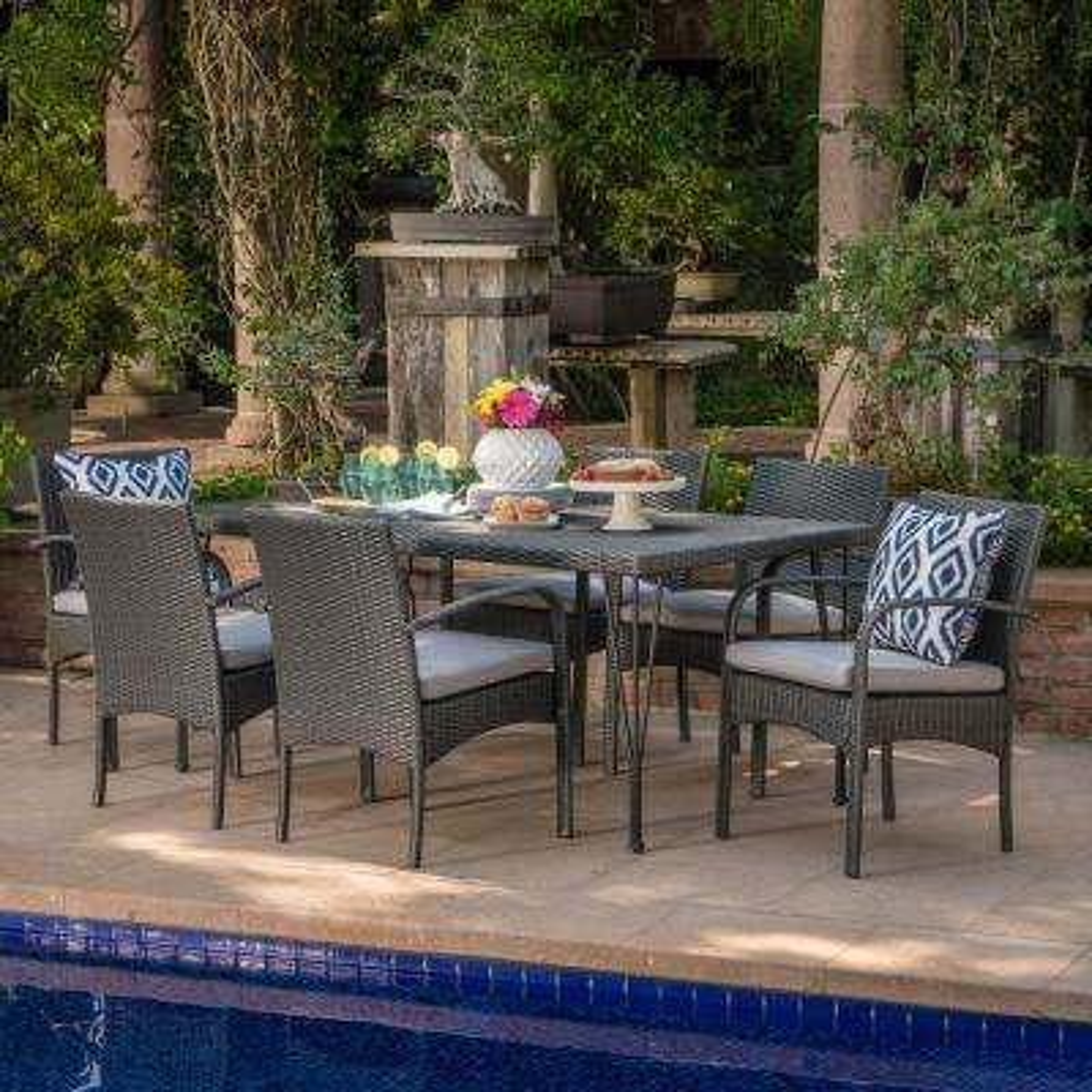 Joyce Grey 7-Piece Wicker Outdoor Dining Set with Grey Cushion