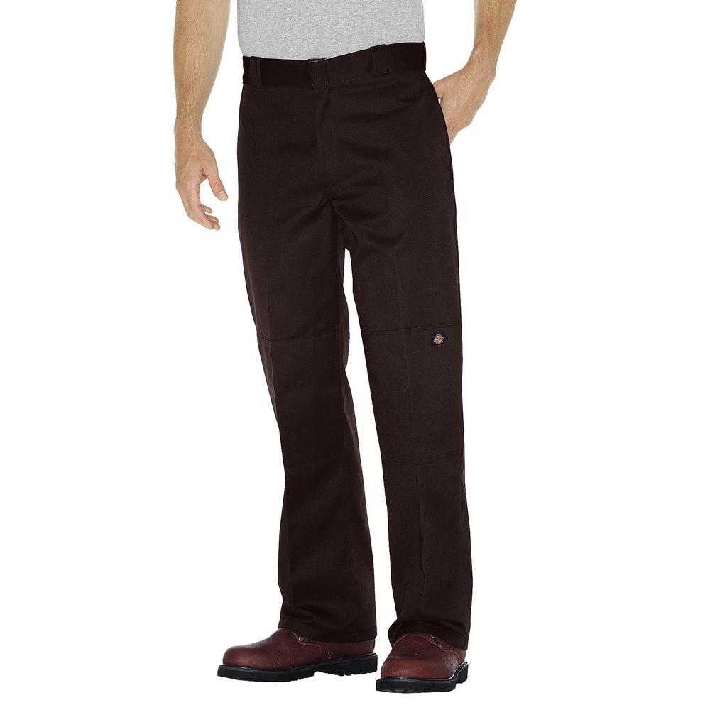 Men's 44 in. x 32 in. Dark Brown Loose Fit Double Knee Work Pant