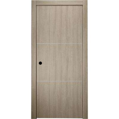 30 in. x 80 in. Viola 2H Shambor Finished Aluminum Strips Left-Hand Solid Core Composite Single Prehung Interior Door