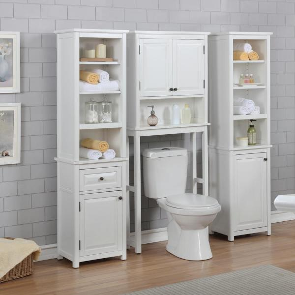 Alaterre Furniture Dorset 27 In W X 9 In D X 66 In H Over The Toilet Space Saver Storage With Upper Cabinet And Open Shelf In White Anva7274wh The Home Depot