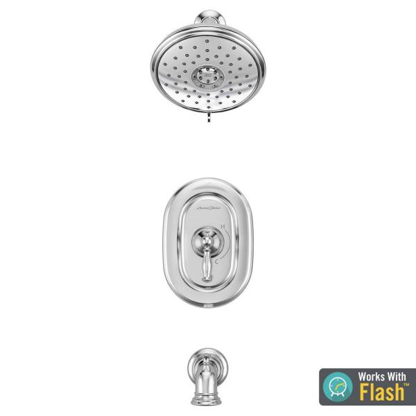 Quentin 1-Handle Water Saving Tub and Shower Trim Kit for Flash Rough-in Valves in Polished Chrome (Valve Not Included)