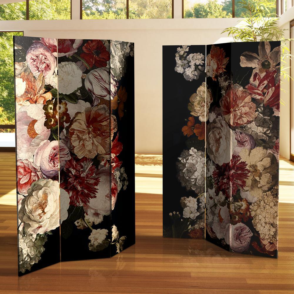 Vintage Flowers 6 ft. Printed 3-Panel Room Divider