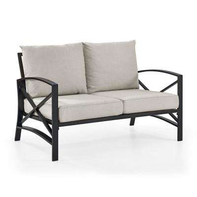 Kaplan Metal Outdoor Loveseat with Universal Oatmeal Cushion Cover