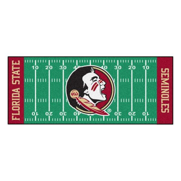 NCAA -Florida State University Green 3 ft. x 6 ft. Indoor Football Field Runner Rug