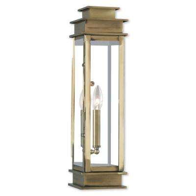 Princeton 1-Light Antique Brass Outdoor Wall Mount Lantern