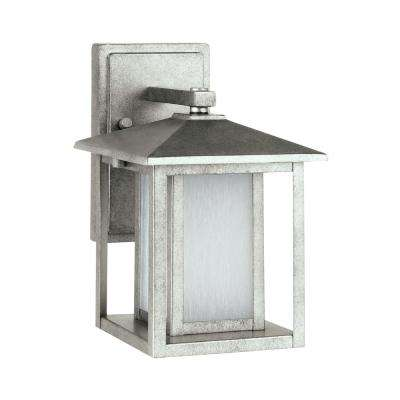 Hunnington 1-Light Weathered Pewter Outdoor Wall Mount Lantern