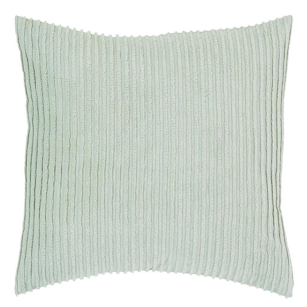 Julian Collection in Solid Stripes Design Sage Euro 100% Cotton Tufted Chenille Sham