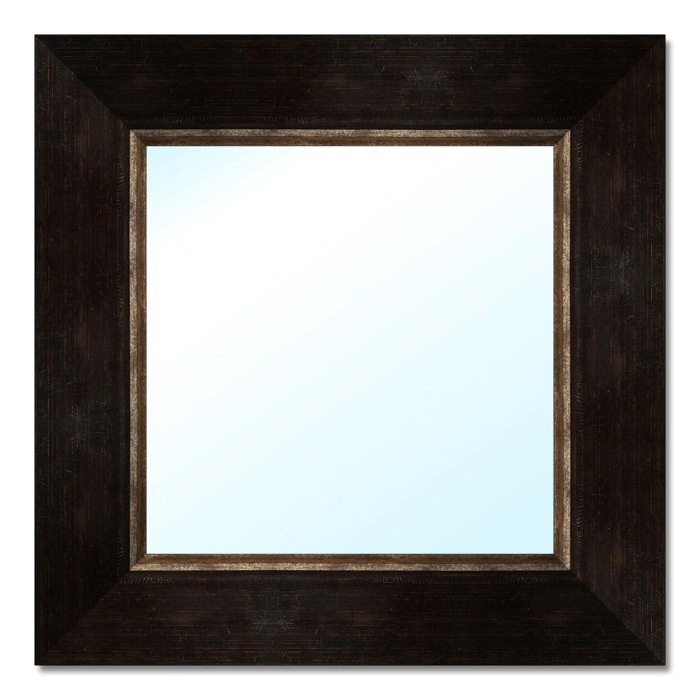 PTM Images 18.5 in. x 18.5 in. Dark Brown Polystyrene Framed Mirror