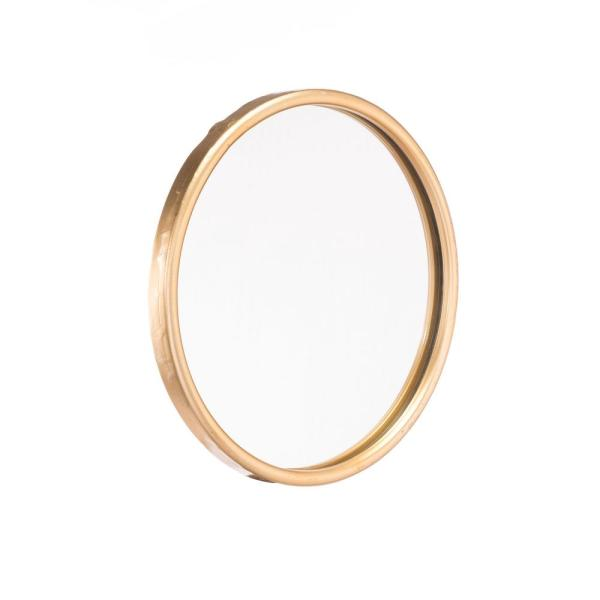 Small Round Gold Contemporary Mirror (12 in. H x 12 in. W)