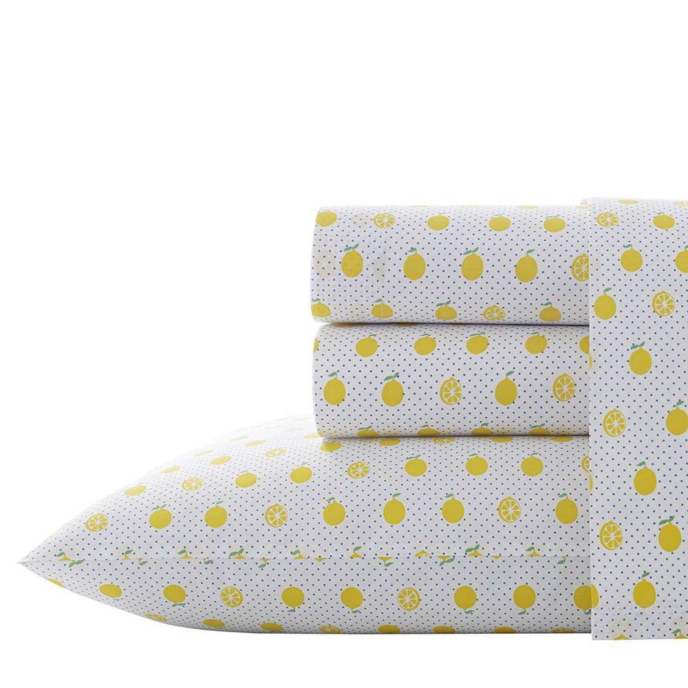 Lemons 3-Piece Yellow 200 Thread Count Twin XL Sheet Set