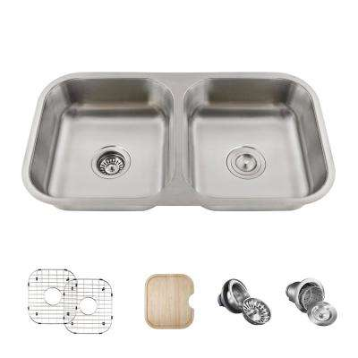 Undermount Stainless Steel 18 in. 50/50 Double Bowl Kitchen Sink