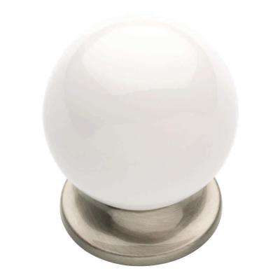 Ceramic Cottage 1-5/16 in. (33mm) Flat White & Satin Nickel  Round  Cabinet Knob