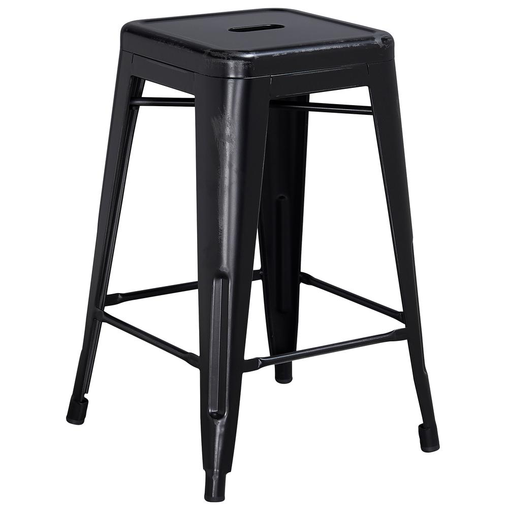 24 in. Distressed Black Bar Stool