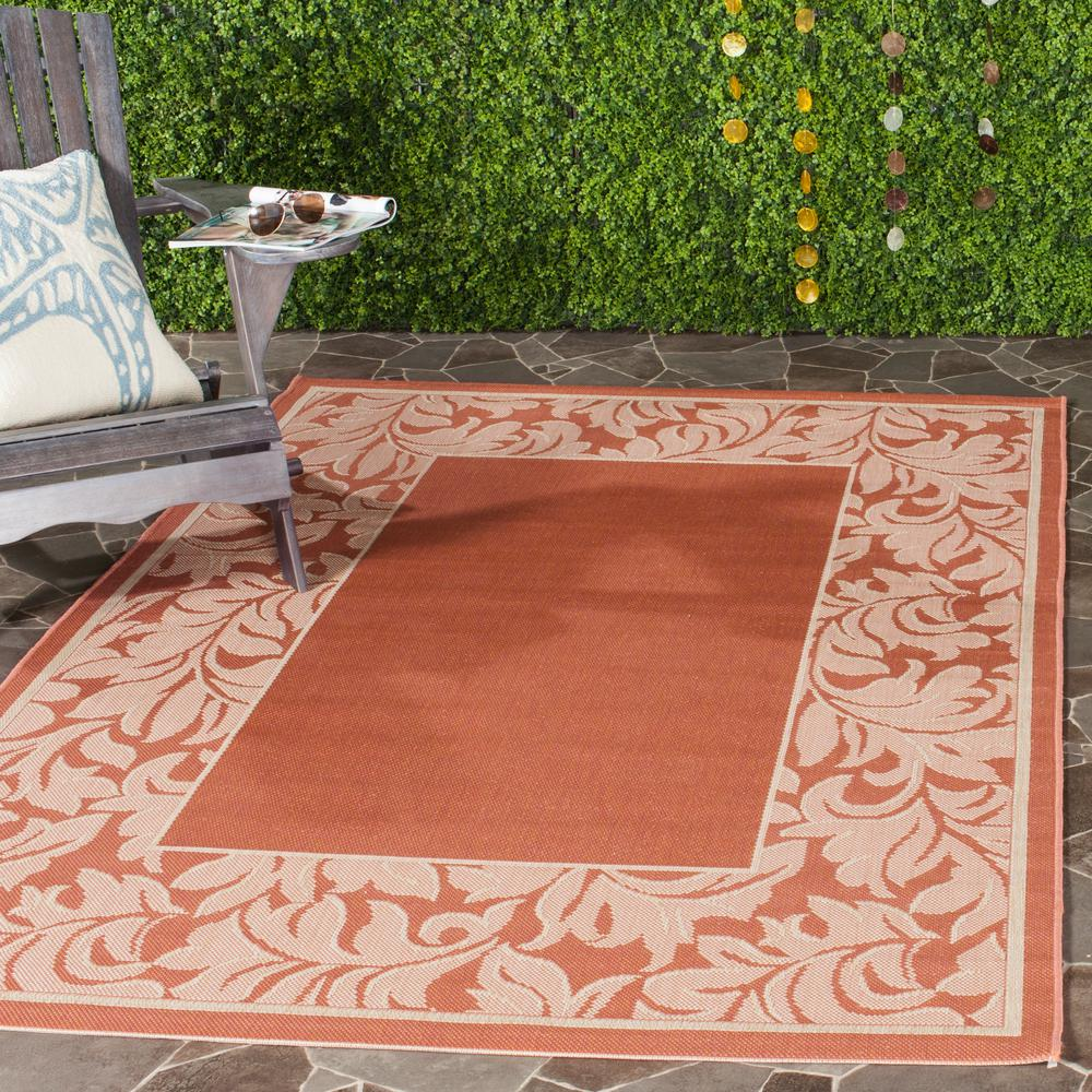 Safavieh Courtyard Terracotta Natural 6 Ft 7 In X 9 Ft