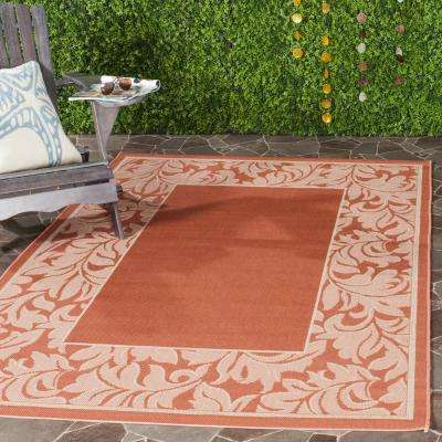 Courtyard Terracotta/Natural 7 ft. x 10 ft. Indoor/Outdoor Area Rug