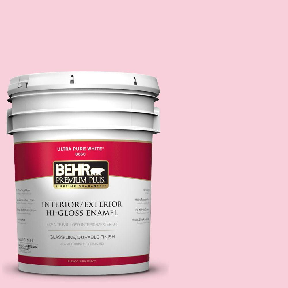 BEHR Premium Plus 5-gal. #120C-1 April Blush Hi-Gloss Enamel Interior/Exterior Paint