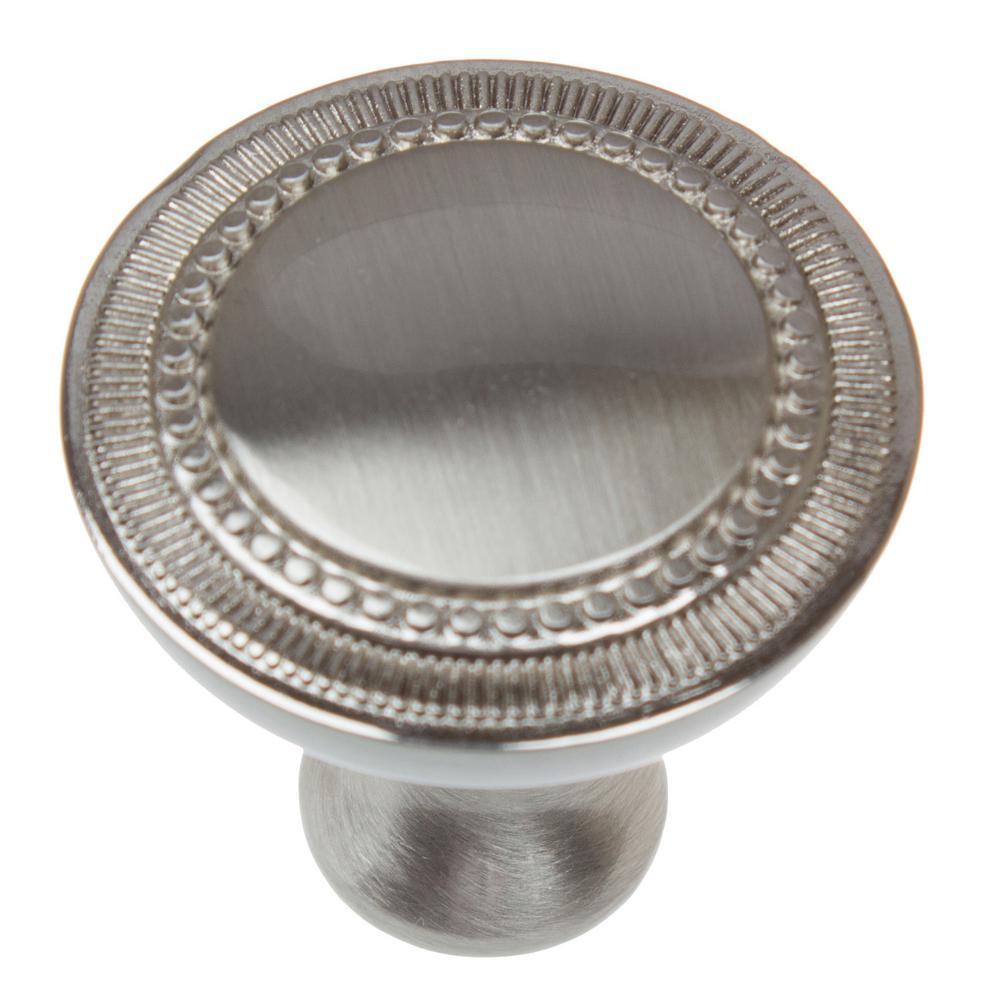 1-1/4 in. Dia Satin Nickel Round Hammered Platinum Collection Cabinet Knob
