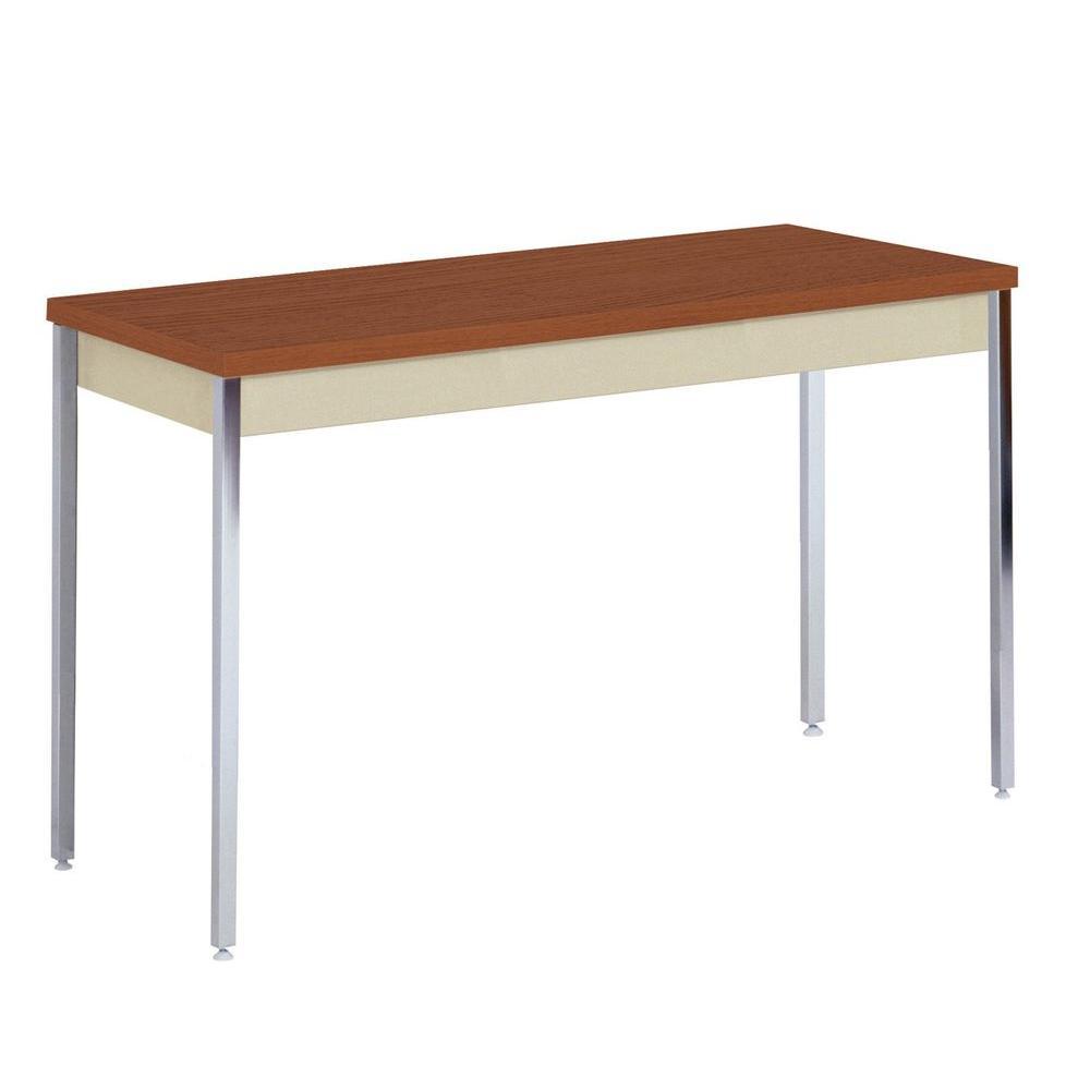 36 in. H x 60 in. W x 20 in. D Heavy Duty Steel Meeting/Activity Table in Putty/Medium Oak
