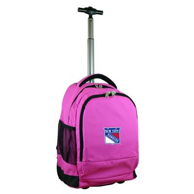Denco NHL New York Rangers 19 in. Pink Wheeled Premium Backpack