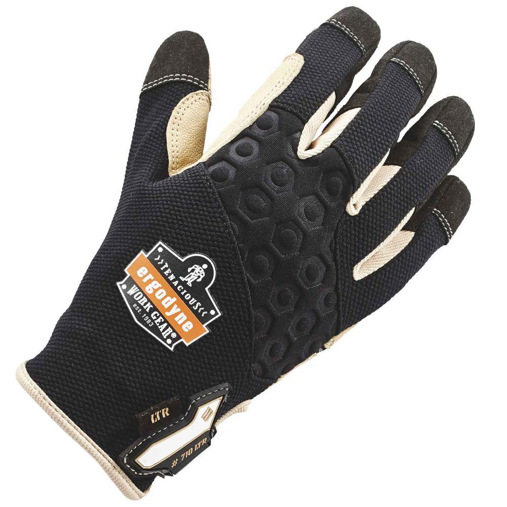 XL Black Heavy-Duty Leather-Reinforced Gloves