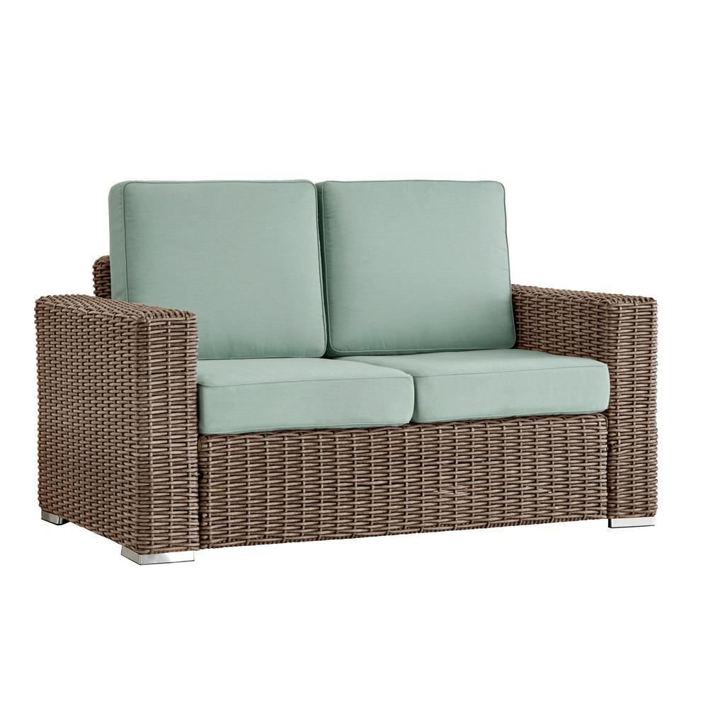 Camari Mocha Square Arm Wicker Outdoor Loveseat with Blue Cushion