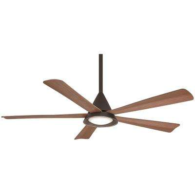 Cone 54 in. Integrated LED Indoor/Outdoor Oil Rubbed Bronze Ceiling Fan with Light with Remote Control