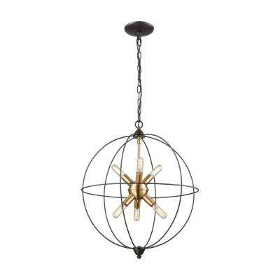 Loftin 6-Light Oil Rubbed Bronze with Satin Brass Accents Chandelier