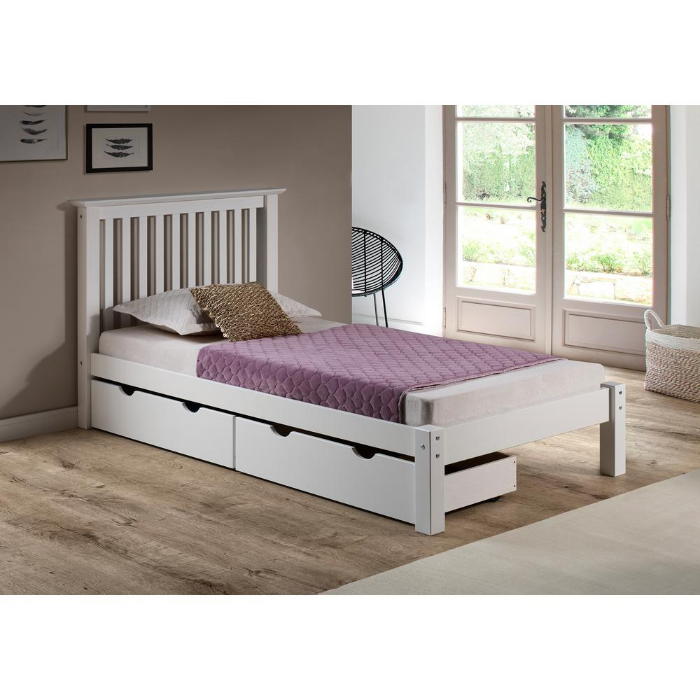 Alaterre furniture barcelona white twin bed with storage drawers