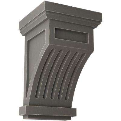 4-1/4 in. x 7 in. x 4-1/4 in. Reclaimed Grey Fluted Wood Vintage Decor Corbel