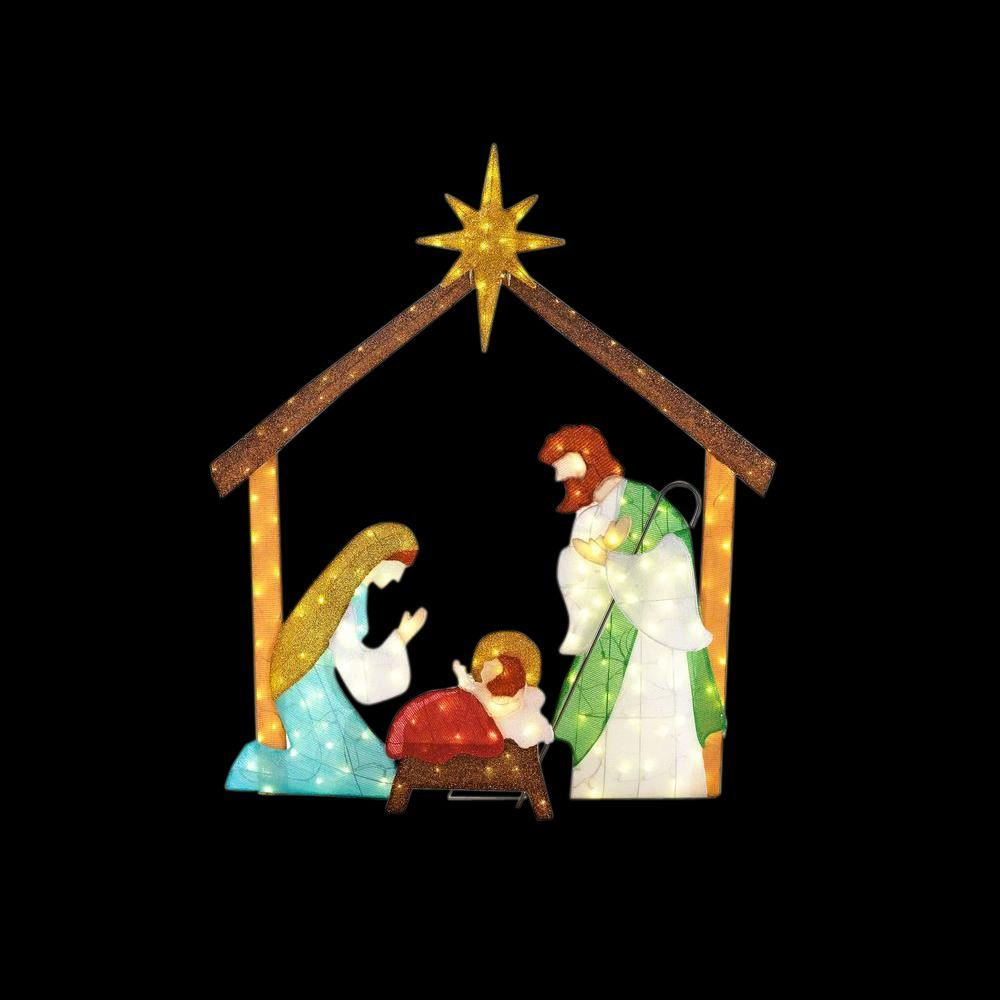 Home accents holiday 66 in led lighted tinsel nativity for Christmas lawn decorations