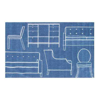Props Blue 5 ft. x 8 ft. Indoor Area Rug