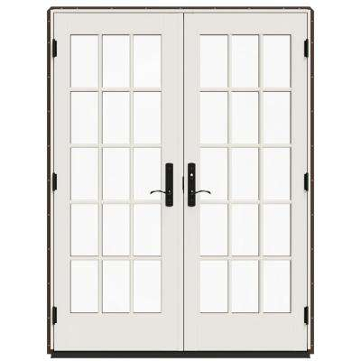 60 in. x 80 in. W-4500 Dark Chocolate Clad Wood Left-Hand 15-Lite French Patio Door with White Paint Interior