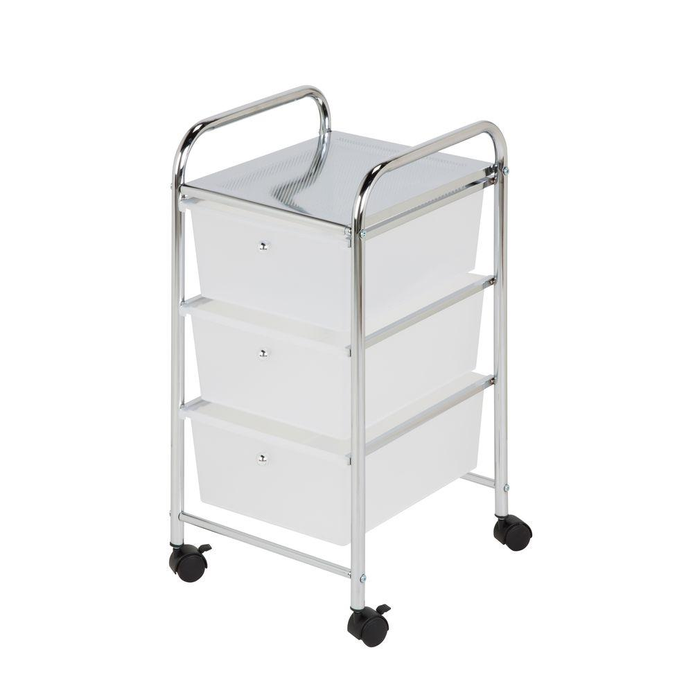 Honey-Can-Do 3-Drawer Plastic Storage Cart on Wheels  sc 1 st  The Home Depot : storage rolling carts  - Aquiesqueretaro.Com