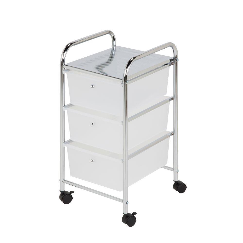 3-Drawer Plastic Storage Cart on Wheels