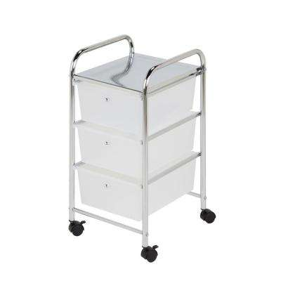 3-Drawer Steel Rolling Cart in Chrome