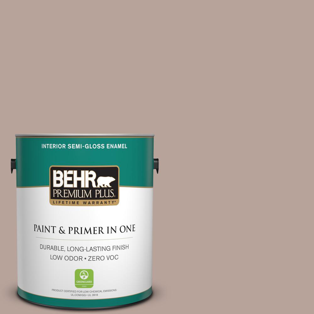 1-gal. #N150-3 Cocoa Craving Semi-Gloss Enamel Interior Paint