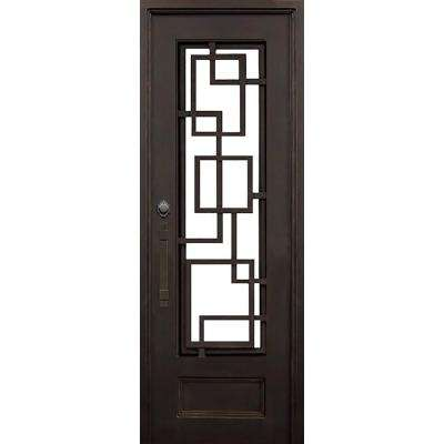 40 in. x 97.5 in. Flat Top St. Andrews Dark Bronze 3/4 Lite Painted Wrought Iron Prehung Front Door (Hardware Included)