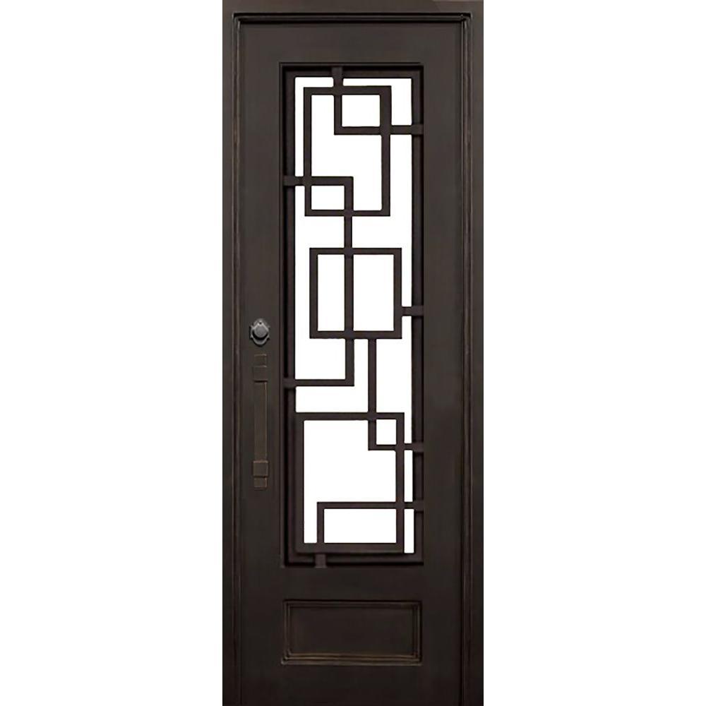 40 in. x 97.5 in. Flat Top St. Andrews Dark Bronze 3/4 Lite Painted Wrought Iron Prehung Front Door (Hardware Included)