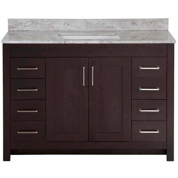 Westcourt 49 in. W x 22 in. D Bath Vanity in Chocolate with Stone Effect Vanity Top in Winter Mist with White Sink
